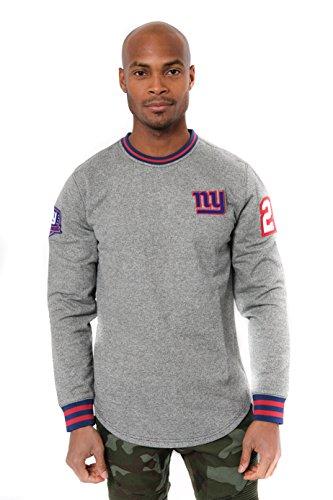 ICER Brands Adult Men Fleece Sweatshirt Long Sleeve Shirt Rib Stripe, Team Color, Black Marl, Small ()