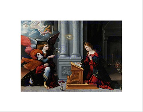 PAINTING PORTRAIT STUDY ALLEGORY GAROFOLO ANNUNCIATION BLACK FRAME FRAMED ART PRINT PICTURE + MOUNT B12X3847