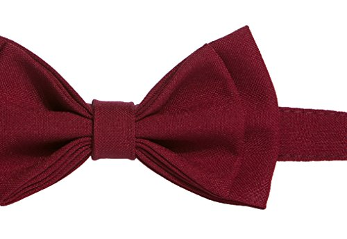 Baby Toddler Boy Men's Bow Tie Pre-tied - Made in USA (Baby (6 - 18 mo), Burgundy)