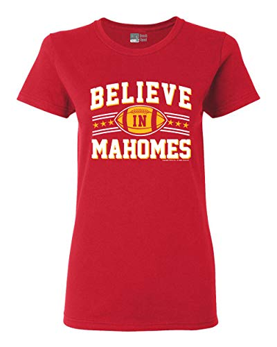 Ladies Believe in Mahomes Kansas City Football Fan Wear DT T-Shirt Tee (Small, Red)