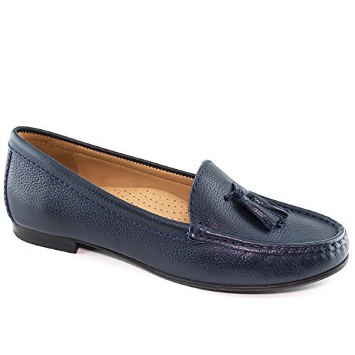 Driver Club USA Womens Leather Made in Brazil Palm Beach Loafer Navy Grainy
