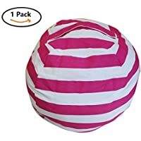 Mxinran Sit and Stuff Storage Bean Bag Cover,Stuffed Animal Storage Bean Bag Chair,Perfect Storage Solution For Extra Blankets/Pillows/Covers/Towels/Clothes by (Big, Rose Red/White Striped)