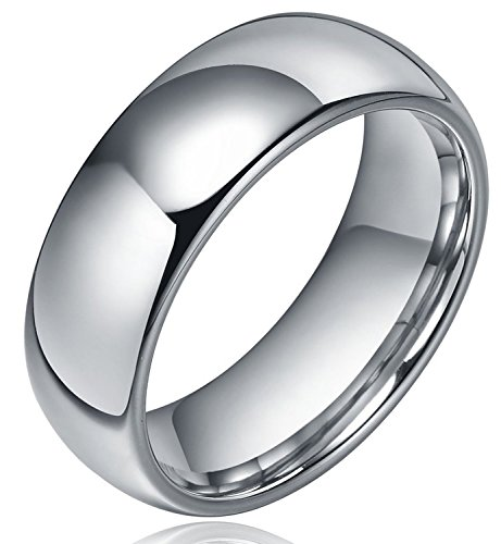 8mm Dome Polished Plain Tungsten Ring Mens Wedding Bands Comfort Fit Size N