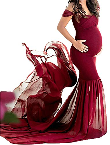 JustVH Maternity Off Shoulder Chiffon Gown Maxi Photography Dress for Photo Shoot Photo Props Dress Burgundy
