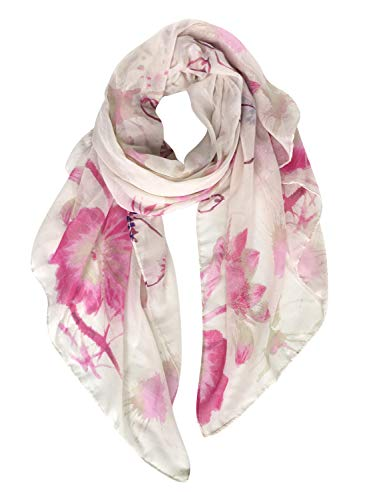 (GERINLY Soft Warm Shawl Wrap: Womens Pastel Flowers Print Scarves (Rose))