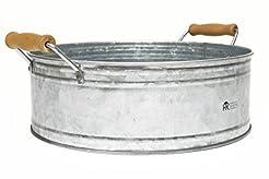 Round Metal Bucket Tray - Galvanized Far...