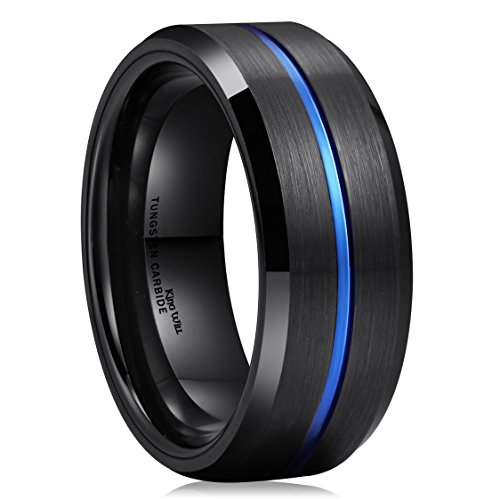 King Will Blue & Black 8mm Men Tungsten Carbide Wedding Band Ring Brushed Comfort Fit