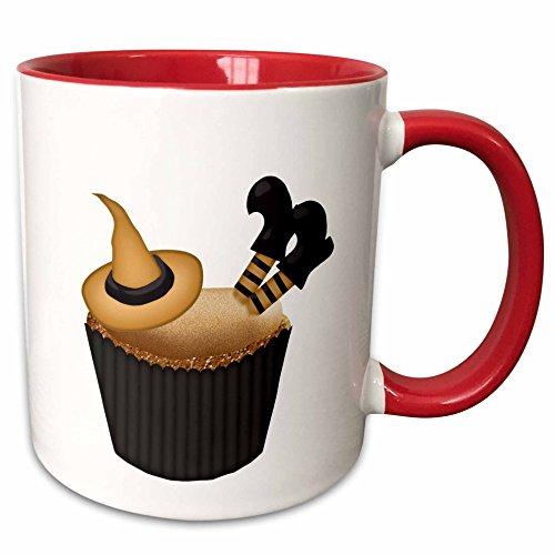 3dRose Anne Marie Baugh - Halloween - Cute Sunken Witch Cupcake Illustration - 15oz Two-Tone Red Mug (mug_216992_10) ()