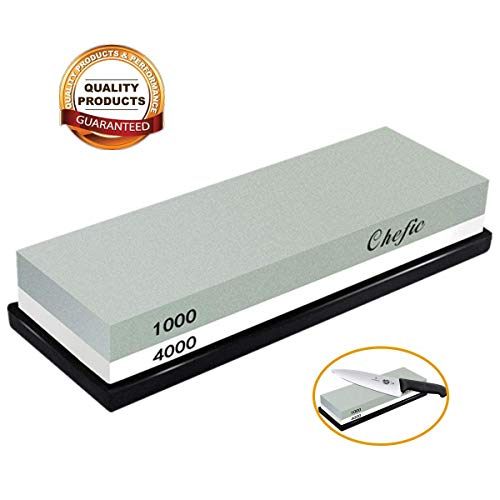 Whetstone Sharpening Stone 1000/4000 Grit - Chefic Premium Knife Sharpener Stone Kit - Waterstone Safe Honing Holder Silicone Base Included, Polishing Tool for Kitchen, Hunting, Pocket Knives,Blades