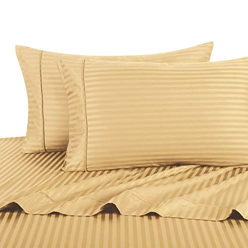 Gold Striped Pillowcase (Stripe Gold Standard Size Pillowcases, 2PC Pillow Cases, 100% Cotton, 300 Thread Count, Sateen Striped, by Royal Hotel)