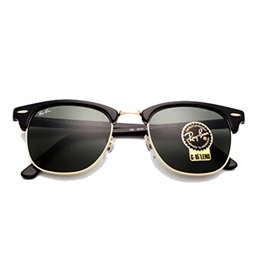 Ray-Ban Clubmaster RB3016 Authentic Sunglasses. Color Black gold - Rb3016 W0365 Clubmaster