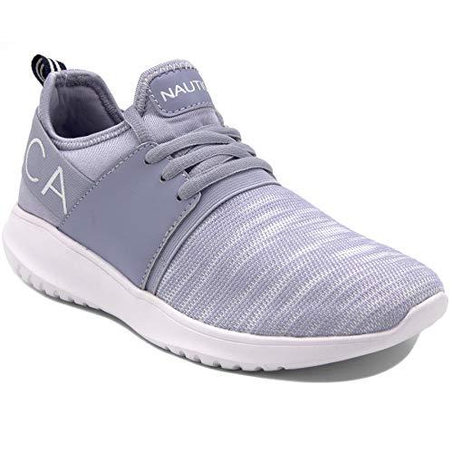 Nautica Women Fashion Sneaker Lace-Up Jogger Running Shoe-Lavender Knit-7.5