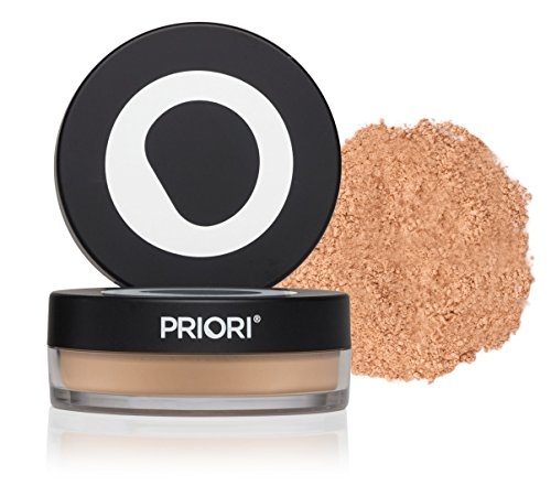 - Priori All-Natural Mineral Loose Powder Foundation SPF25 with 30 Antioxidants, Physical Sunscreen, Skin Perfecting Makeup Minerals, All Skin Types Including Sensitive Skin - Warm Beige 0.18 oz