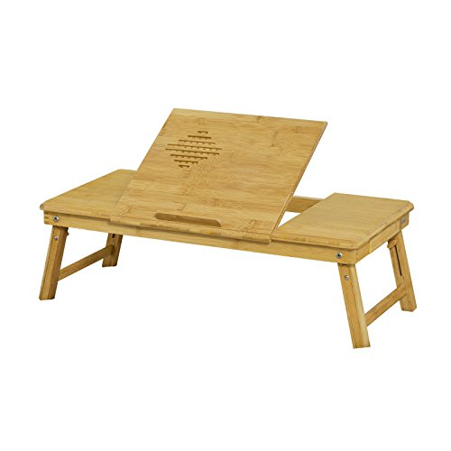 100% Natural Bamboo Foldable Laptop Table, Folding Bed Table, FBT04-L-N+ A placemat Free! (Natural, 35Wx72L) by SoBuy