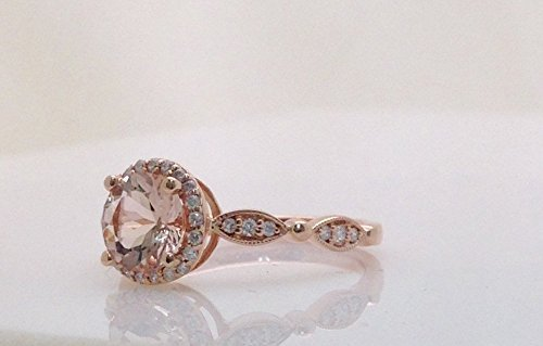 - Rose Gold Morganite Ring - Halo Engagement with Diamonds 14K Size 6.75, Resizable Vintage Style