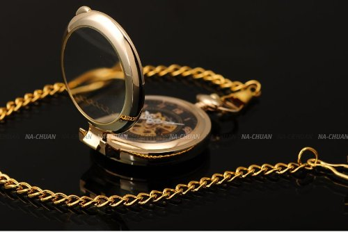AMPM24 Unique Golden Magnifier Skeleton Mechanical Men's Pocket Watch Chain Gift WPK022 by AMPM24 (Image #4)