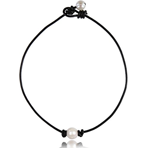 (Barch Young Single Freshwater-Cultured Pearl Choker Necklace on Genuine Black Leather Cord for Women Handmade Choker Jewelry Gift (16