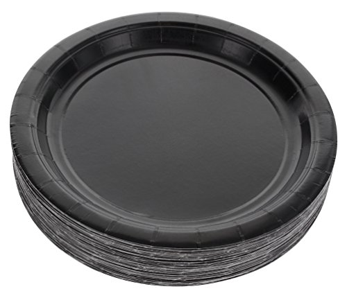 Amcrate Black Disposable Party Paper Dessert Plates 7