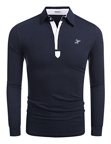 Embroidered Pique Jeans - Hotouch Men's Polo Shirt Cotton Pique Polo Shirt Long Sleeve Polo Shirt (Navy Blue L)