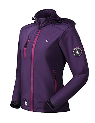Little Donkey Andy Women's Softshell Jacket with Removable Hood, Fleece Lined and Water Repellent Purple Size XL