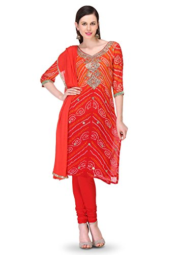 Utsav Fashion Embroidered Bandhej Pure Chinon Crepe Straight Cut Suit in Red