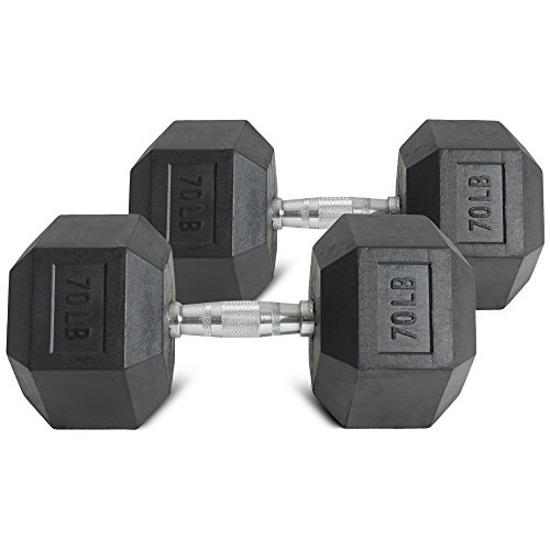 Pair 70 lb Black Rubber Coated Hex Dumbbells Weight Training Set 140 lb Fitness by Titan Fitness (Image #3)