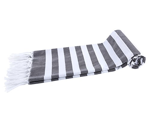 (Chama 100% Cotton Extra Soft Striped Peshtemal Fouta Turkish Beach Towels Wrap Bath Towel Oversized Blanket for Baby Home Family Traveling Pool Scarf Towel Absorbency (Black&white stripes))
