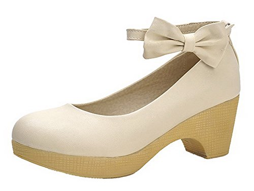 VogueZone009 Women's Solid PU Kitten-Heels Round-Toe Buckle Pumps-Shoes Beige sbIMqrxprR