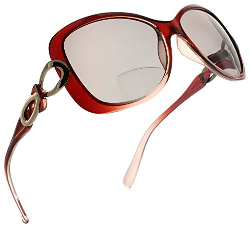 (Fiore Bifocal Oversized Reading Sunglasses Readers for Women [Burgundy, 2.25])