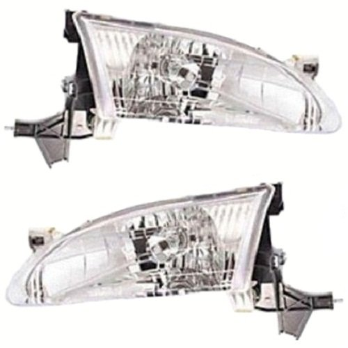 Discount Starter and Alternator TO2503121 TO2502121 Toyota Corolla Replacement Headlight Pair Plastic Lens With (1.8l 4cyl Alternator)