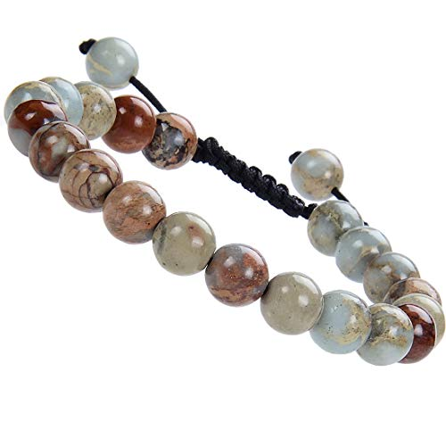 (MSBeads Massive Beads Genuine Natural Imperial Jasper Stone Bead Adjustable Bracelet, Earth Healing, 8mm, Unisex, for Friendship, Couples, Relationship (Imperial)