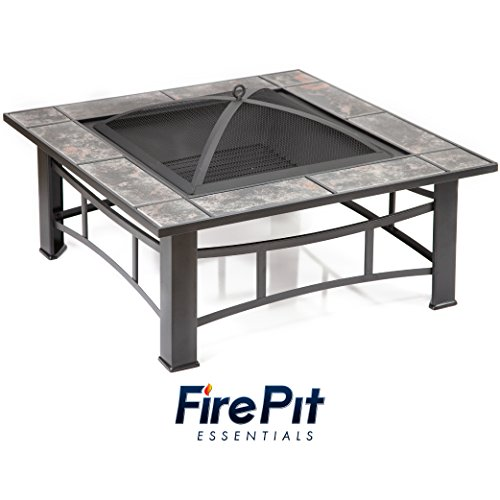 (Square Metal Fire Pit | Tiled Wood Burning Fire Pit for Outdoor Patios with Slate Tile Detailing, Rounded Mesh Spark Screen, Fire Poker and Fire Pit Cover)
