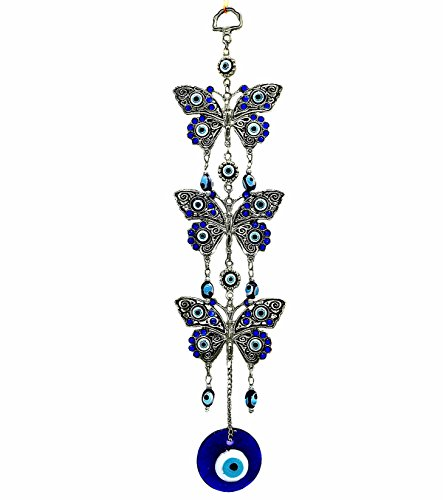 Decoration Eye Evil - Betterdecor Blue Evil Eye with Butterflies Design Hanging Decoration Ornament (with a Pouch)