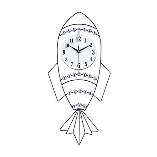 Unbekannt CivilWeaEU- Creative Uhr Wanduhr Kinderzimmer Schlafzimmer Mute Sweep Zweite Quartz Clock Kleine Rocket Clock