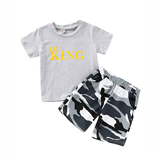 Infant Baby Boy Kid King Short Sleeve Crewneck T Shirt Tops+Camouflage Shorts Casuanl Outfits Set ()