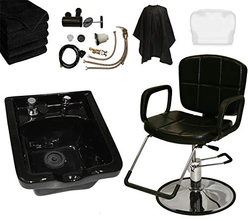 LCL Beauty Reclining Hydraulic Cutting & Shampoo Barber Salon Chair & ABS Plastic Bowl Salon Package
