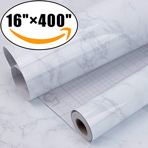 "Marble Self Adhesive Paper 16"" x 400"" - Granite Gray/White Roll Kitchen countertop Cabinet Furniture is renovated Thick Waterproof PVC"