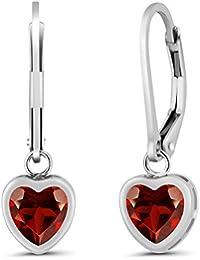 1.80 Ct Heart Shape Red Garnet 925 Sterling Silver Earrings