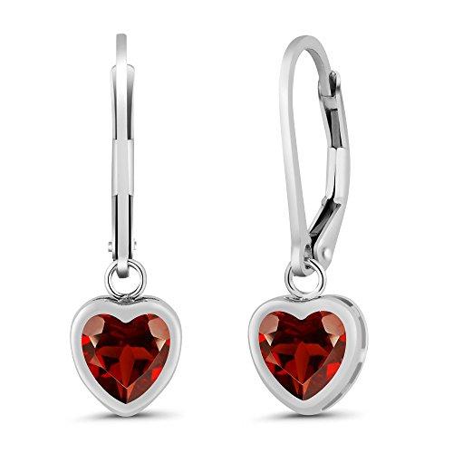 Garnet Birthstone Heart Earrings - 1.80 Ct Heart Shape Red Garnet 925 Sterling Silver Earrings