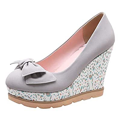 JOJONUNU Women Sweet Wedge Heel Wedding Pumps Slip On Bowknot Gray Size 33 Asian
