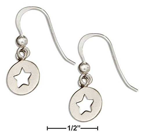 STERLING SILVER ROUND DANGLE EARRINGS WITH STAR CUTOUT