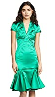 Zac Posen Women's V Neck Satin Dress, Shamrock, Green, 0