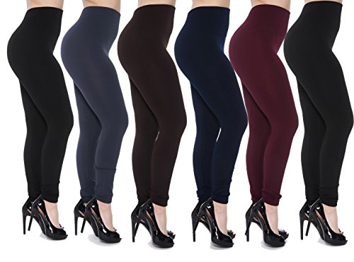 2, 4, or 6-Pack Women's Unique Styles Fleece Lined Leggings - Assorted Colors (Plus Size, Navy/Grey/Burgundy/Brown/2Black)