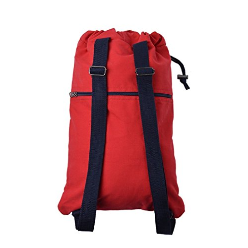 Bagiva Soft Cotton Canvas Drawstring Backpack Gym Rucksack Excursion Travel Sports Bag(Red,One Size)