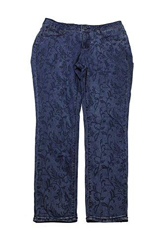 Earl Jean Womens Vine Print Indigo Wash Skinny Jeans Blue 12 (Print Indigo Jeans)