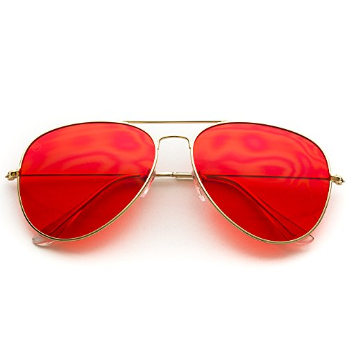 Classic Aviator Style Metal Frame Sunglasses Colored - Sunglasses Aviator Red