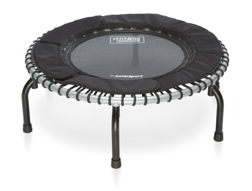 JumpSport Fitness Trampoline Model 370 — Top Rated for Quality and Durability — Quietest Most Stable Bounce — No-Tip Arched Legs— 4 Music Workout Videos Included For Sale
