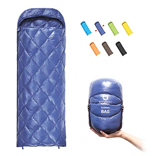 ECOOPRO Down Sleeping Bag, 41 Degree F 600 Fill Power Cold Weather Sleeping Bag - Ultralight Compact Portable Waterproof Camping Sleeping Bag with Compression Sack for Adults, Teen, Kids