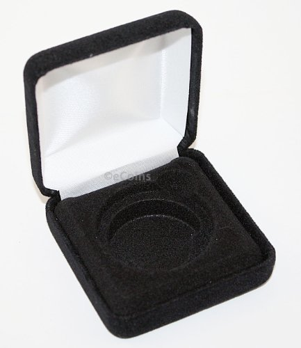 Lot of 5 Black Felt COIN DISPLAY GIFT METAL BOX holds 1-IKE or Silver Eagle ASE