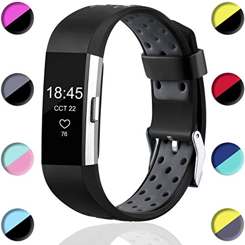 Wepro Bands Compatible with Fitbit Charge 2 HR for Men Women Girls Kids, Replacement Accessory with Air Holes, Small, Black on Grey